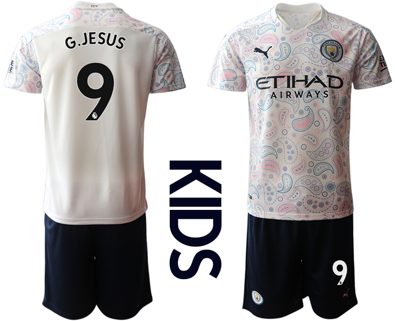 Cheap Youth 2020-2021 club Manchester City away white 9 Soccer Jerseys