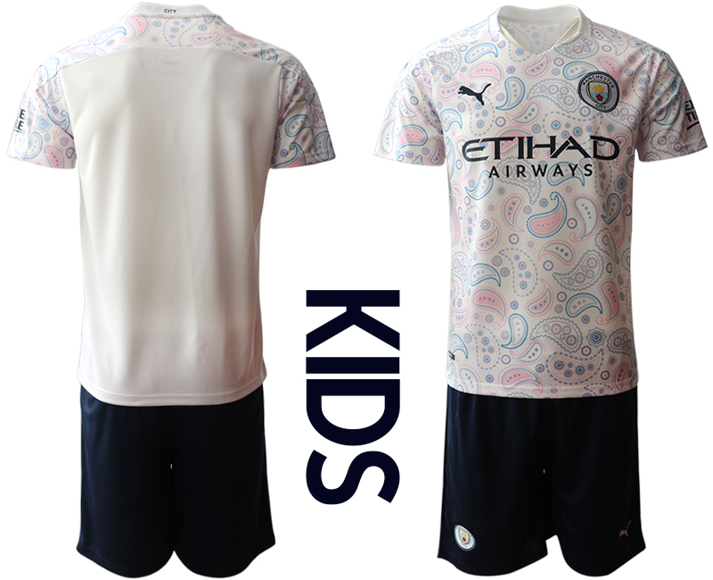 Cheap Youth 2020-2021 club Manchester City away white blank Soccer Jerseys