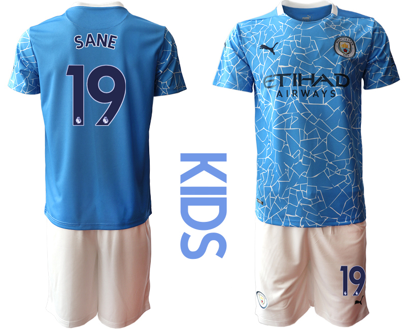 Wholesale Youth 2020-2021 club Manchester City home blue 19 Soccer Jerseys