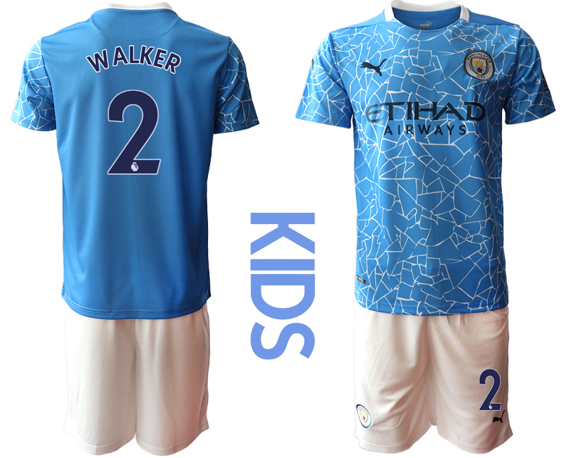 Wholesale Youth 2020-2021 club Manchester City home blue 2 Soccer Jerseys