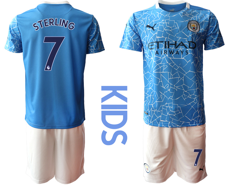 Wholesale Youth 2020-2021 club Manchester City home blue 7 Soccer Jerseys