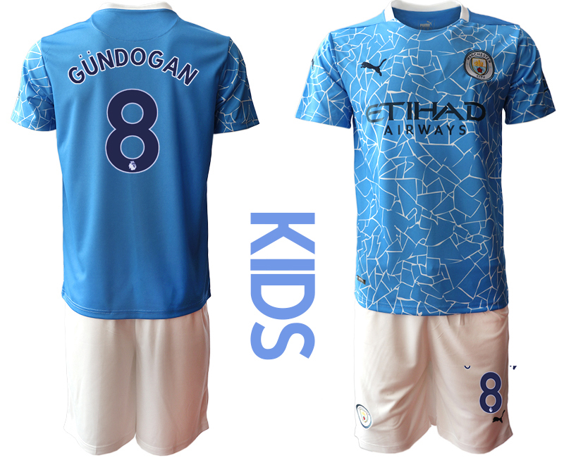 Wholesale Youth 2020-2021 club Manchester City home blue 8 Soccer Jerseys