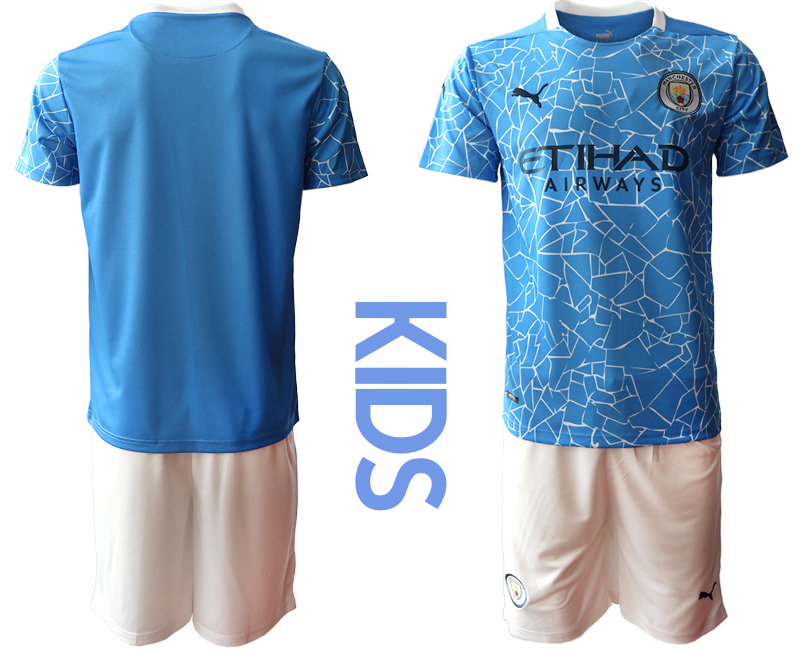 Cheap Youth 2020-2021 club Manchester City home blue blank Soccer Jerseys