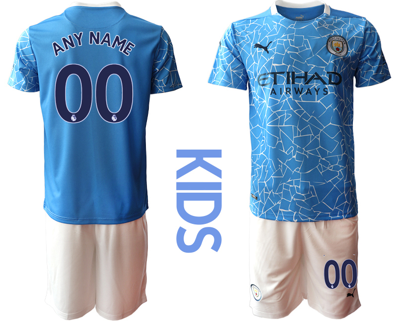 Cheap Youth 2020-2021 club Manchester City home customized blue Soccer Jerseys