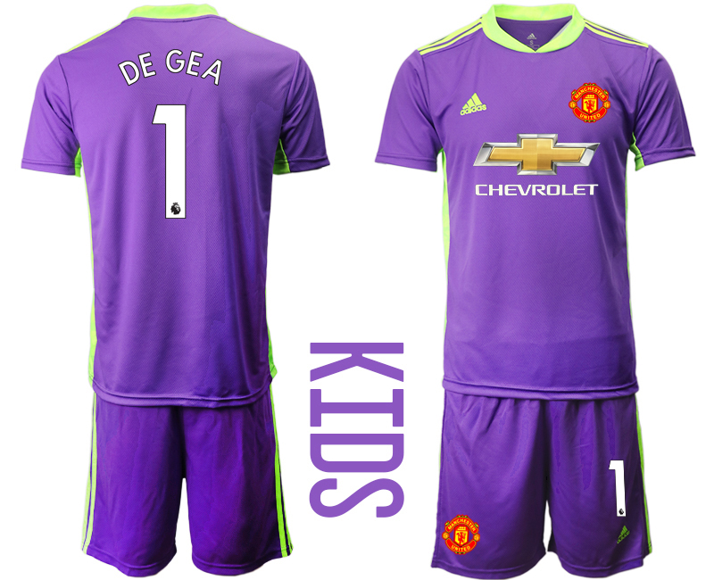 Cheap Youth 2020-2021 club Manchester United purple goalkeeper 1 Soccer Jerseys