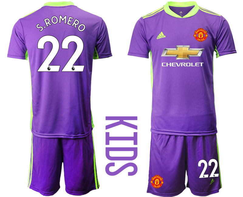 Cheap Youth 2020-2021 club Manchester United purple goalkeeper 22 Soccer Jerseys