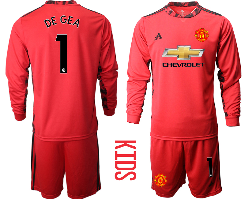 Cheap Youth 2020-2021 club Manchester United red long sleeved Goalkeeper 1 Soccer Jerseys