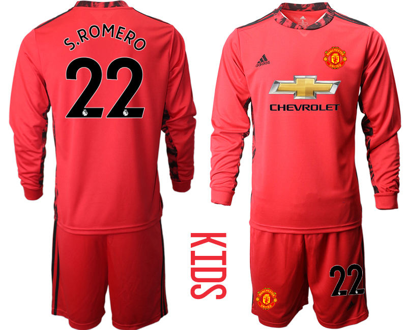 Cheap Youth 2020-2021 club Manchester United red long sleeved Goalkeeper 22 Soccer Jerseys