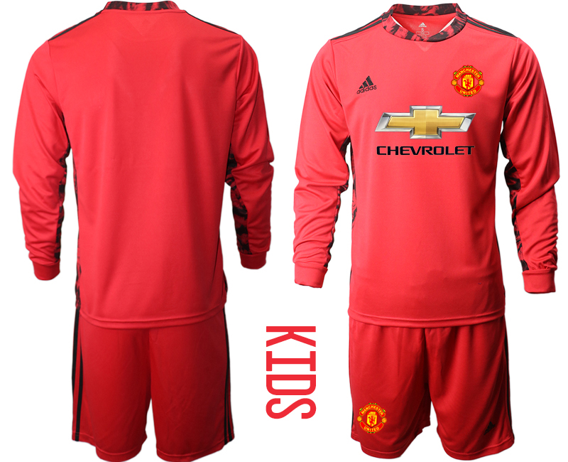 Cheap Youth 2020-2021 club Manchester United red long sleeved Goalkeeper blank Soccer Jerseys