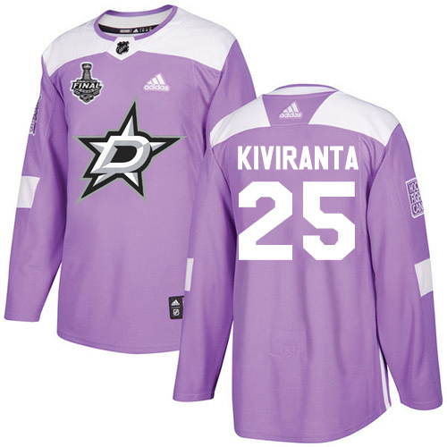 Wholesale Adidas Dallas Stars 25 Joel Kiviranta Purple Authentic Fights Cancer Youth 2020 Stanley Cup Final Stitched NHL Jersey