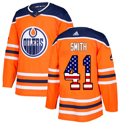 Wholesale Adidas Edmonton Oilers 41 Mike Smith Orange Home Authentic USA Flag Stitched Youth NHL Jersey