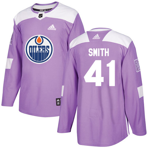 Wholesale Adidas Edmonton Oilers 41 Mike Smith Purple Authentic Fights Cancer Stitched Youth NHL Jersey