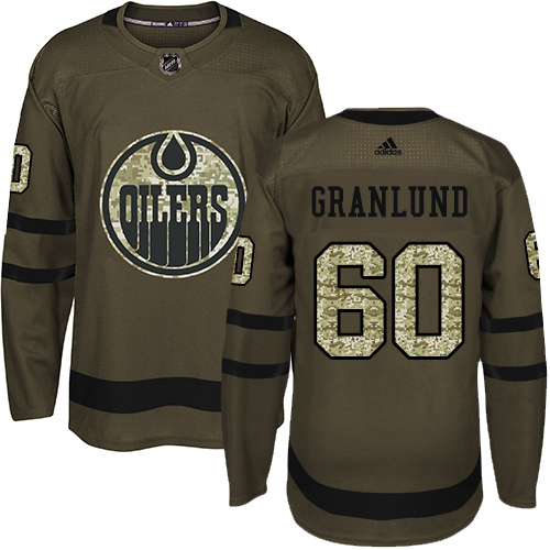 Wholesale Adidas Edmonton Oilers 60 Markus Granlund Green Salute to Service Stitched Youth NHL Jersey