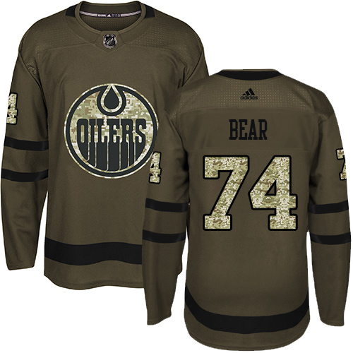 Wholesale Adidas Edmonton Oilers 74 Ethan Bear Green Salute to Service Stitched Youth NHL Jersey