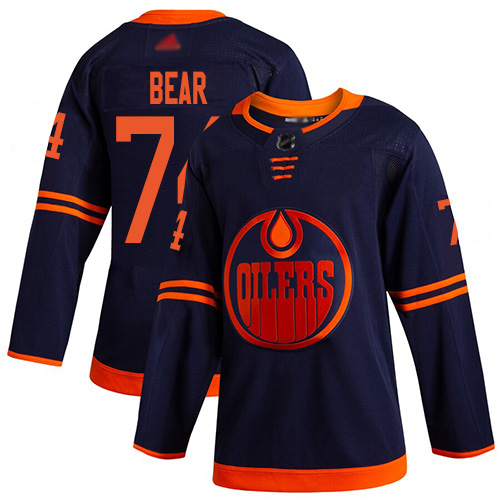 Wholesale Adidas Edmonton Oilers 74 Ethan Bear Navy Alternate Authentic Stitched Youth NHL Jersey
