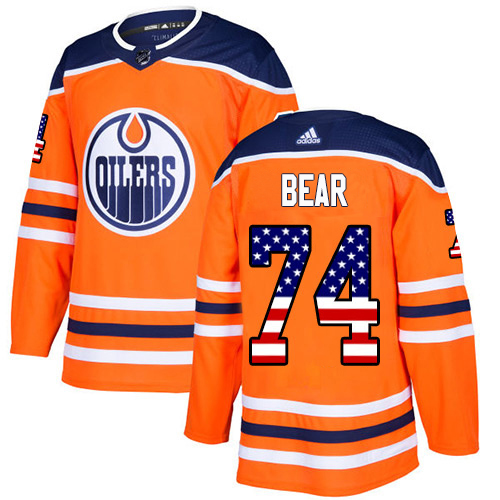 Wholesale Adidas Edmonton Oilers 74 Ethan Bear Orange Home Authentic USA Flag Stitched Youth NHL Jersey