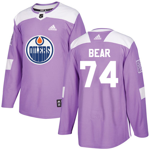 Wholesale Adidas Edmonton Oilers 74 Ethan Bear Purple Authentic Fights Cancer Stitched Youth NHL Jersey