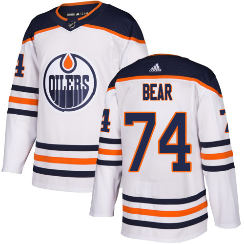 Wholesale Adidas Edmonton Oilers 74 Ethan Bear White Road Authentic Stitched Youth NHL Jersey