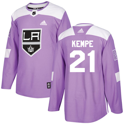 Wholesale Adidas Los Angeles Kings 21 Mario Kempe Purple Authentic Fights Cancer Stitched Youth NHL Jersey