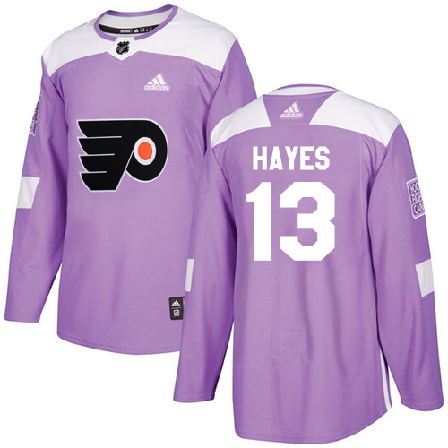 Cheap Adidas Men Philadelphia Flyers 13 Kevin Hayes Purple Authentic Fights Cancer Stitched NHL Jersey
