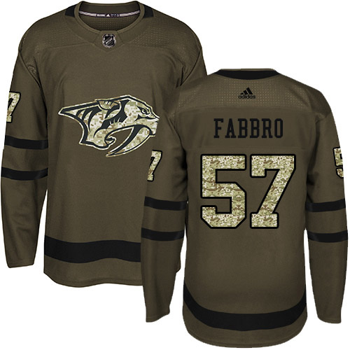 Cheap Adidas Nashville Predators 57 Dante Fabbro Green Salute to Service Stitched Youth NHL Jersey