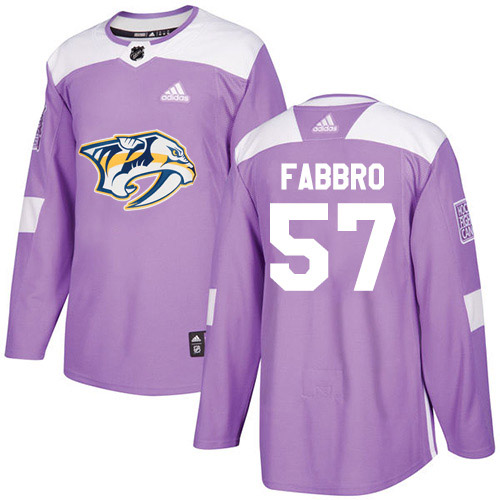 Cheap Adidas Nashville Predators 57 Dante Fabbro Purple Authentic Fights Cancer Stitched Youth NHL Jersey