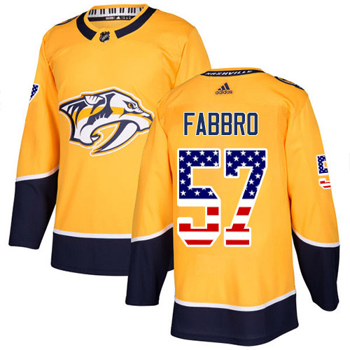 Cheap Adidas Nashville Predators 57 Dante Fabbro Yellow Home Authentic USA Flag Stitched Youth NHL Jersey