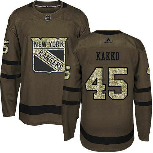 Cheap Adidas New York Rangers 45 Kappo Kakko Green Salute to Service Stitched Youth NHL Jersey