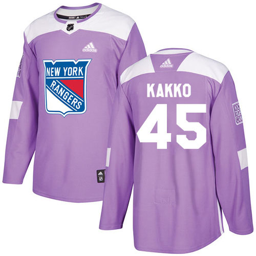 Cheap Adidas New York Rangers 45 Kappo Kakko Purple Authentic Fights Cancer Stitched Youth NHL Jersey