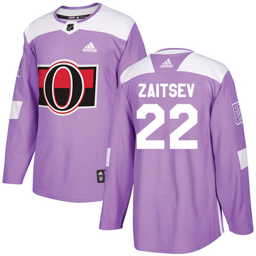 Wholesale Adidas Ottawa Senators 22 Nikita Zaitsev Purple Authentic Fights Cancer Stitched Youth NHL Jersey