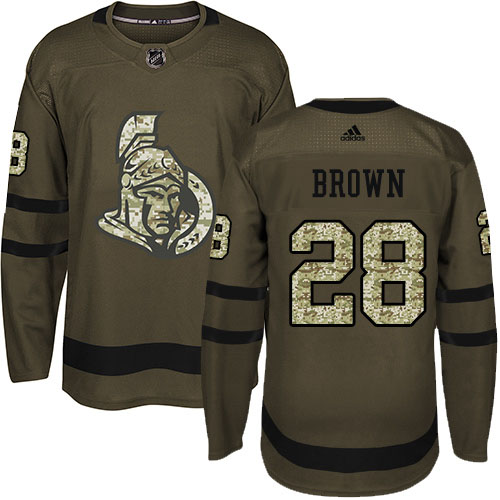 Wholesale Adidas Ottawa Senators 28 Connor Brown Green Salute to Service Stitched Youth NHL Jersey