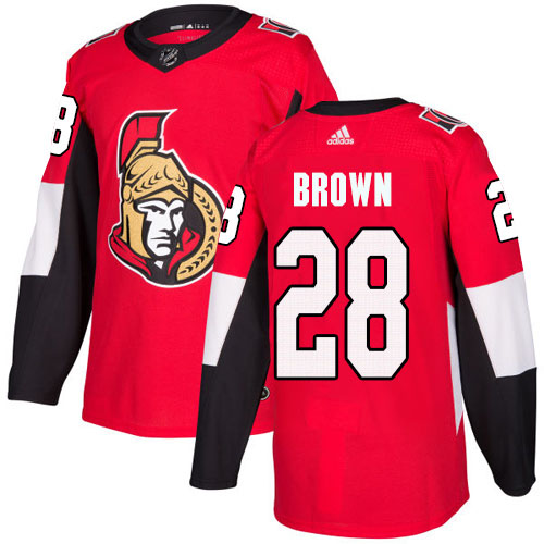 Cheap Adidas Ottawa Senators 28 Connor Brown Red Home Authentic Stitched Youth NHL Jersey