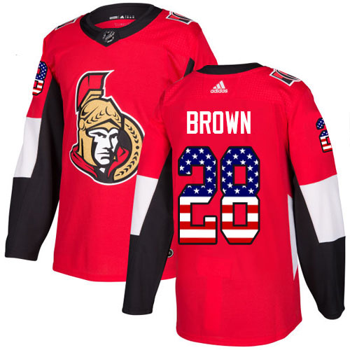 Cheap Adidas Ottawa Senators 28 Connor Brown Red Home Authentic USA Flag Stitched Youth NHL Jersey