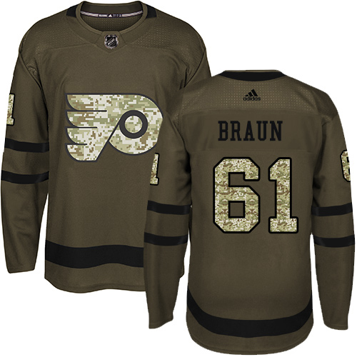 Cheap Adidas Philadelphia Flyers 61 Justin Braun Green Salute to Service Stitched Youth NHL Jersey