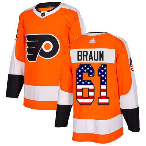 Cheap Adidas Philadelphia Flyers 61 Justin Braun Orange Home Authentic USA Flag Stitched Youth NHL Jersey