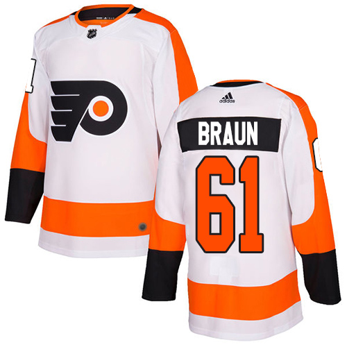 Cheap Adidas Philadelphia Flyers 61 Justin Braun White Road Authentic Stitched Youth NHL Jersey