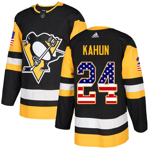 Wholesale Adidas Pittsburgh Penguins 24 Dominik Kahun Black Home Authentic USA Flag Stitched Youth NHL Jersey