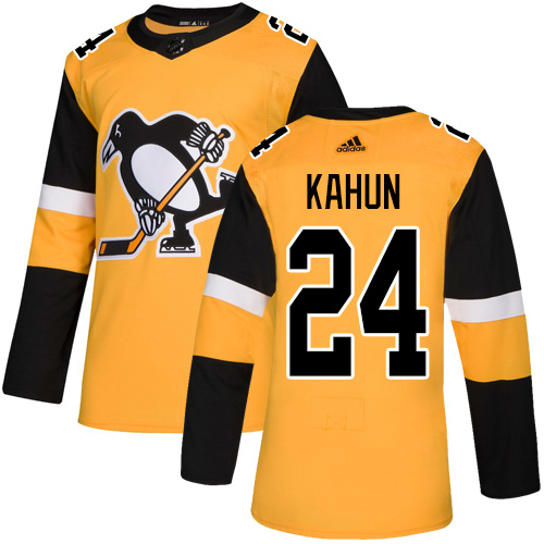 Wholesale Adidas Pittsburgh Penguins 24 Dominik Kahun Gold Alternate Authentic Stitched Youth NHL Jersey