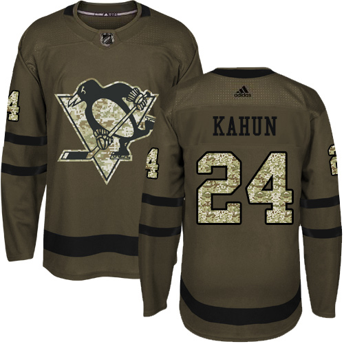 Wholesale Adidas Pittsburgh Penguins 24 Dominik Kahun Green Salute to Service Stitched Youth NHL Jersey