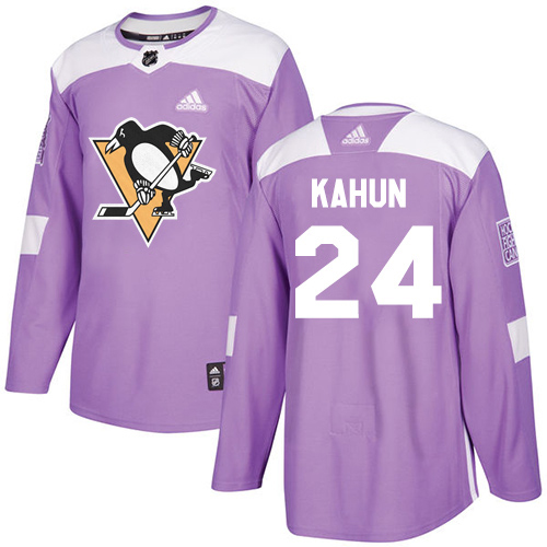 Wholesale Adidas Pittsburgh Penguins 24 Dominik Kahun Purple Authentic Fights Cancer Stitched Youth NHL Jersey