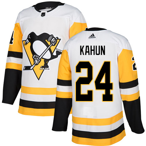 Wholesale Adidas Pittsburgh Penguins 24 Dominik Kahun White Road Authentic Stitched Youth NHL Jersey