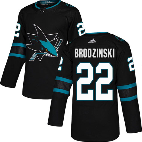 Cheap Adidas San Jose Sharks 22 Jonny Brodzinski Black Alternate Authentic Stitched Youth NHL Jersey