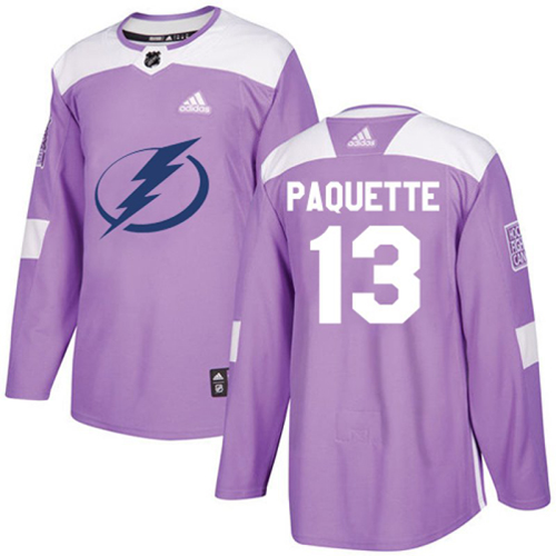 Cheap Adidas Tampa Bay Lightning 13 Cedric Paquette Purple Authentic Fights Cancer Youth Stitched NHL Jersey