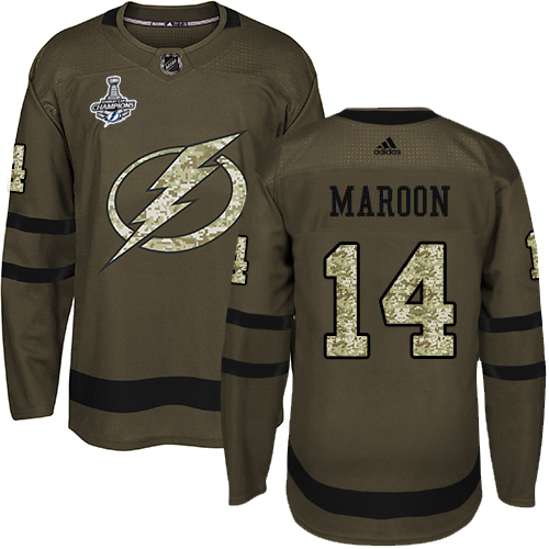 Cheap Adidas Tampa Bay Lightning 14 Pat Maroon Green Salute to Service Youth 2020 Stanley Cup Champions Stitched NHL Jersey