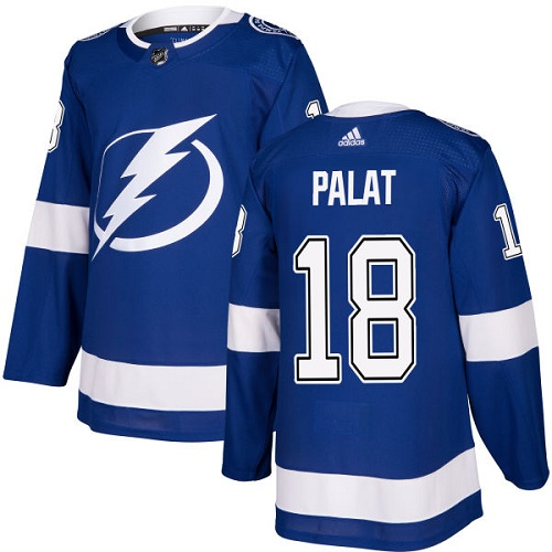 Cheap Adidas Tampa Bay Lightning 18 Ondrej Palat Blue Home Authentic Stitched Youth NHL Jersey