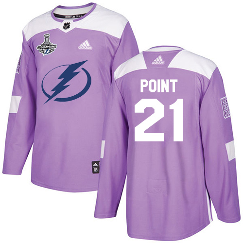Cheap Adidas Tampa Bay Lightning 21 Brayden Point Purple Authentic Fights Cancer Youth 2020 Stanley Cup Champions Stitched NHL Jersey