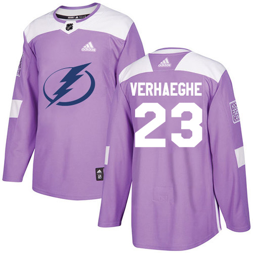 Cheap Adidas Tampa Bay Lightning 23 Carter Verhaeghe Purple Authentic Fights Cancer Youth Stitched NHL Jersey