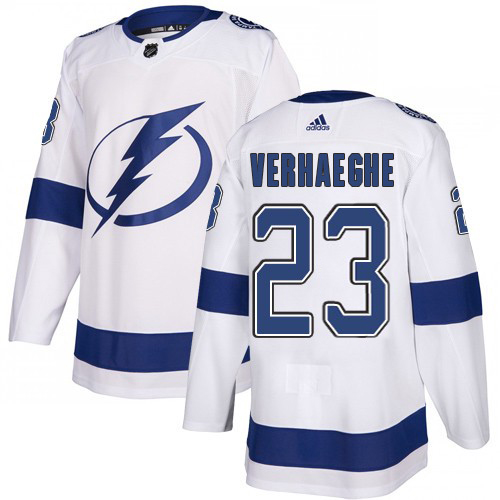 Cheap Adidas Tampa Bay Lightning 23 Carter Verhaeghe White Road Authentic Youth Stitched NHL Jersey