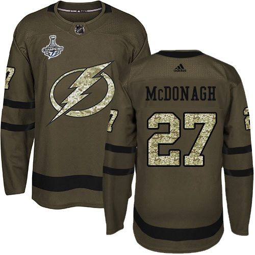 Wholesale Adidas Tampa Bay Lightning 27 Ryan McDonagh Green Salute to Service Youth 2020 Stanley Cup Champions Stitched NHL Jersey