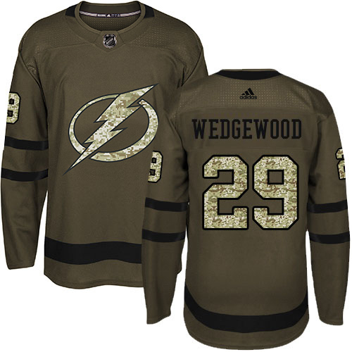 Wholesale Adidas Tampa Bay Lightning 29 Scott Wedgewood Green Salute to Service Youth Stitched NHL Jersey